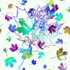 Seamless pattern of falling maple leaves. Blue and violet tones. Can be used as poster, wallpaper, backdrop, background...