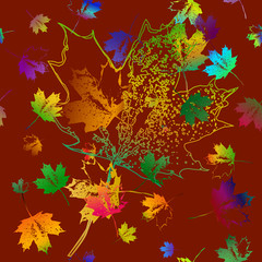 Seamless pattern of falling maple leaves. Brown background. Can be used as poster, wallpaper, backdrop, background...