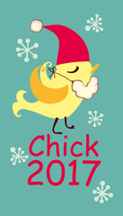 Chick 2017. Funny card. Vector illustration.