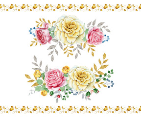 Watercolor rose bouquets. Great start for wedding and other cards