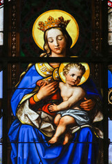 Fototapete - Stained Glass - Madonna and Child