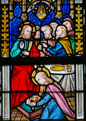 Fototapete - Stained Glass - Jesus Anointed by a Sinful Woman