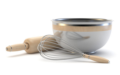 Wire whisk, wooden rolling pin and chrome bowl. 3D