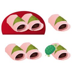 関東の桜餅とカメ