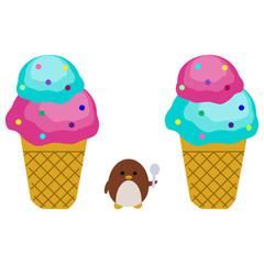 アイスクリームとペンギン