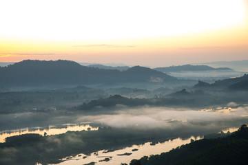 foggy with sunrise nature background.