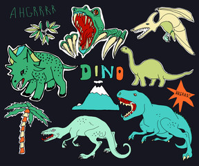 Cute embroidery patches and stickers collection. Dino.