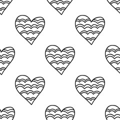 Black and white seamless pattern with decorative hearts for coloring