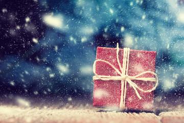 Snowbound red Xmas gift box