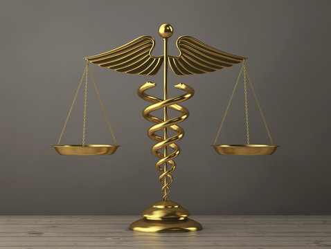 Golden Medical Caduceus Symbol as Scales. 3d Rendering