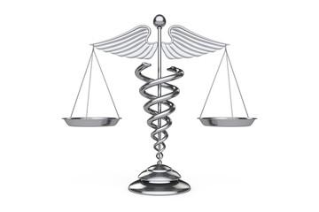 Medical Caduceus Symbol as Scales. 3d Rendering