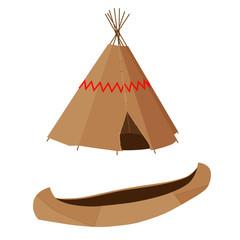 Brown canoe and wigwam