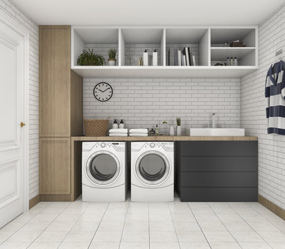 3d rendering wood minimal laundry room with shelf and plant