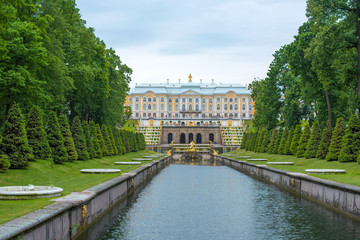 Panoramic view of The Grand Cascade fountain and Grand Palace in Petergof in Saint Petersburg, Russia