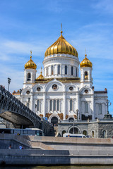 Cathedral of Christ the Saviour, view from the river, Moscow, Russia