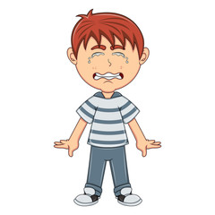Little boy crying cartoon