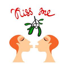 mistletoe lesbian kiss