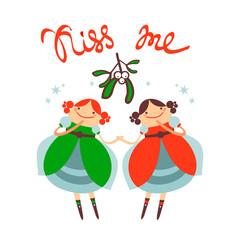 mistletoe two girls