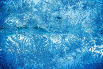 Winter Frost Patterns on Window Retro