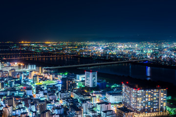 Beautiful of Osaka city night aerial view, Japan