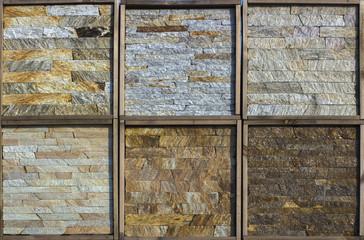 Samples of decorative facing stone