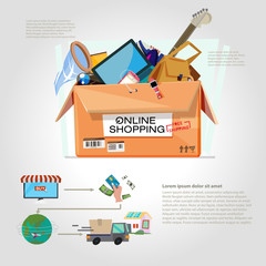 shopping online. Cardboard box for shipping with gadgets - vecto