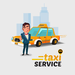 taxi car and driver in welcome action. taxi concept concept. cha