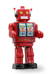 old classic tin robot with clipping path