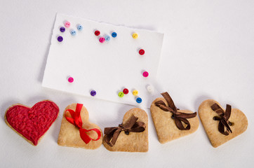 Cookies-hearts, empty card and colorfull buttons