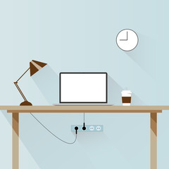 Modern design concept of creative office workspace. Office things, objects and equipment for workplace design. Flat style. Vector illustration