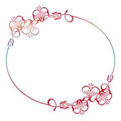 Beautiful floral round frame with gradient fill.