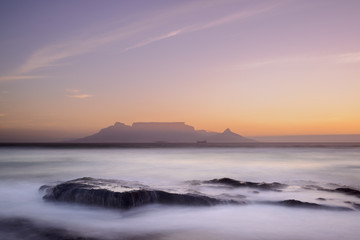 Table Mountain viewed from Bloubergstrand. Cape Town. Western Cape. South Africa