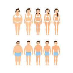 Cartoon woman and man before and after diet vector illustration