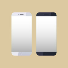 Icons smartphones with blank screen on brown background. Vector illustration