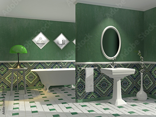 bad mit freistehender wanne und dekorfliesen stock photo and royalty free images on fotolia. Black Bedroom Furniture Sets. Home Design Ideas