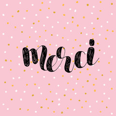 Merci. Thank you in French. Vector illustration.