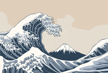 Ocean waves, Japanese style illustration