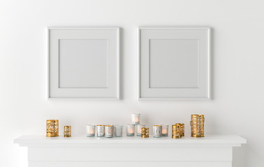 Two blank picture frame with candles on fireplace - 3D render