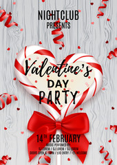 Poster for Valentine's Day party. Beautiful invitation with lollipop and red bow. Vector illustration with confetti and serpentine. Candy in the form of heart isolated on wooden texture.