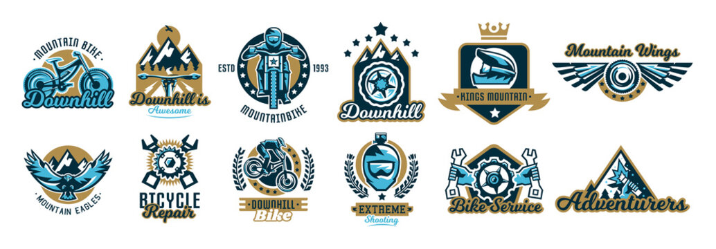 Set of logos on the mountain bike and downhill. Helmet, sunglasses, camera, eagle, fly, wings, parts, rider, landscape, crown, repair, spare parts, maintenance, service, business. Vector illustration.