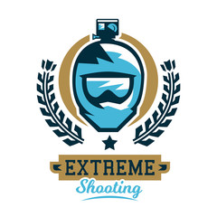 Logo cycling helmet and a camera. Extreme shooting, photographer, video director, glasses. Vector illustration. Flat style