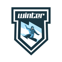 Logo for winter sports. Label, stamp. Snowboarder descends a slope, snow lava mountain. Sports lifestyle. Vector illustration