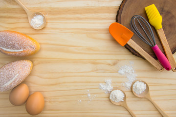 Tools and Ingredients for baking, top view