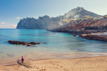 Cala Sant Vicenc formed by four beachs, among them Cala Barques,