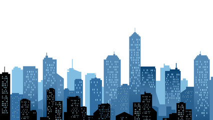 City Landscape In Blue