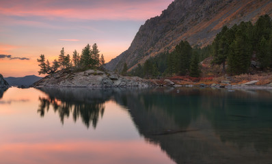 Sunset Mountain Lake With Pink Calm Waters, Altai Mountains Highland Nature Autumn Landscape Photo