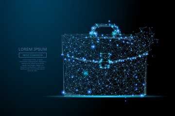 Abstract image of a briefcase in the form of a starry sky or space, consisting of points, lines, and shapes in the form of planets, stars and the universe. Business portfolio vector wireframe concept