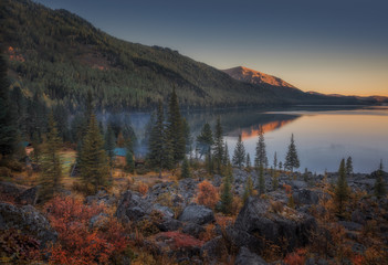 Sunset Lake View With Calm Water And Evergreen Forest On The Shore, Altai Mountains Highland Nature Autumn Landscape Photo