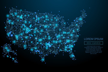 Abstract image of a USA map in the form of a starry sky or space, consisting of points, lines, and shapes in the form of planets, stars and the universe. USA map vector wireframe concept