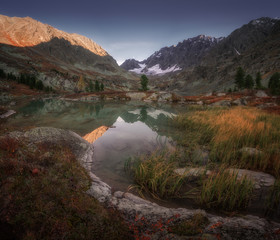 Small Mountain Lake View WIth Grassy Coast And Snowy Peaks, Altai Mountains Highland Nature Autumn Landscape Photo